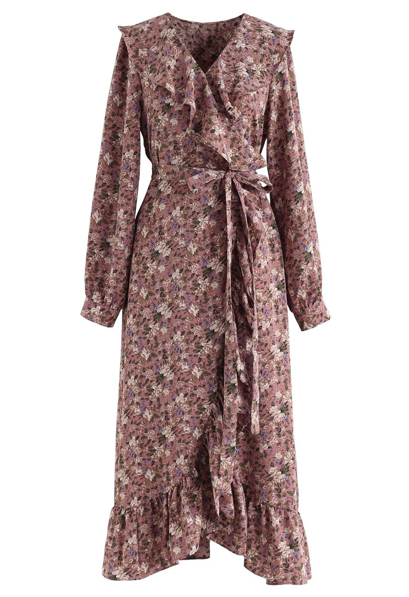 Floral Ruffle Bowknot Wrap Dress in Berry