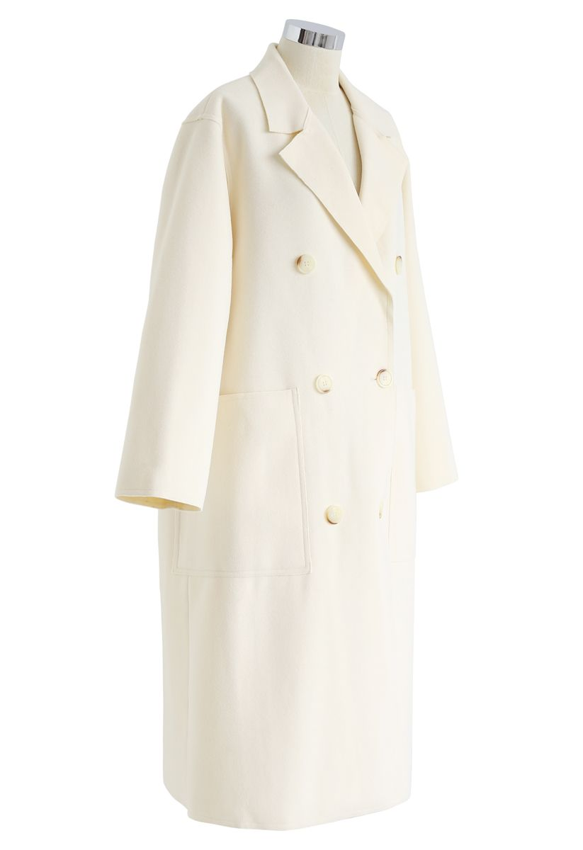 Double-Breasted Wool-Blend Coat in Cream