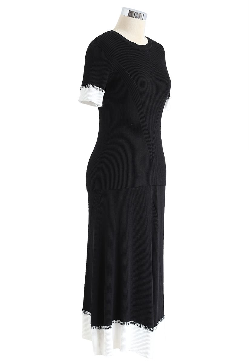 Two-Tone Ribbed Knit Top and Skirt Set in Black
