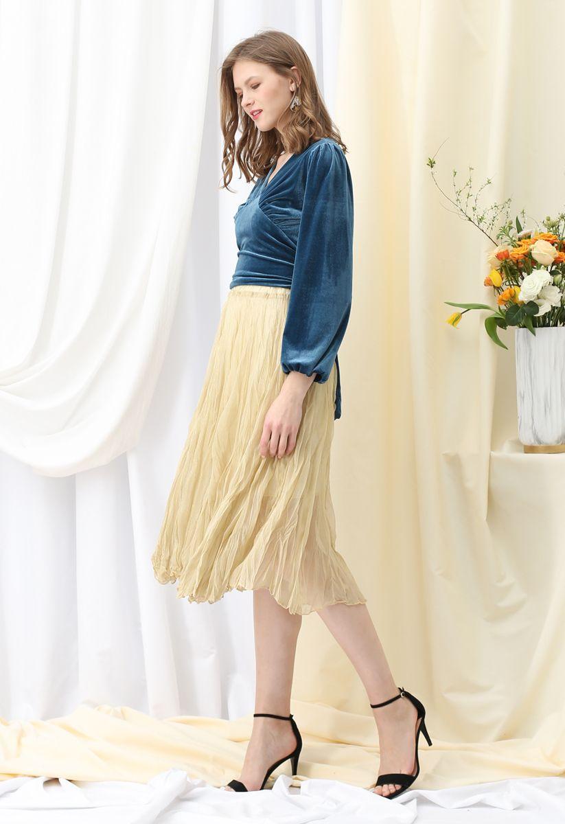 Semi-Sheer Shimmer Mesh Pleated Skirt in Yellow