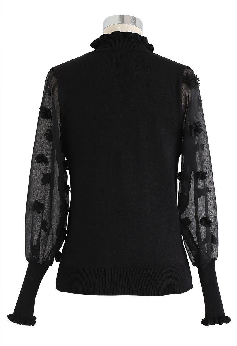 Cotton Candy Sheer Sleeves Knit Top in Black