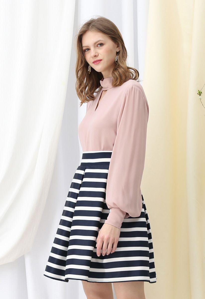 Adorable Stripe Pleated A-Line Midi Skirt