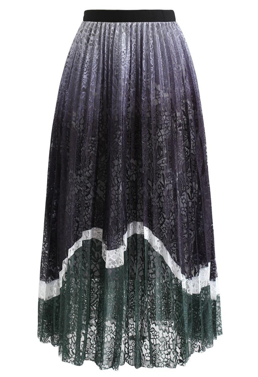 Lightweight Colored Floral Mesh Skirt in Dark Green