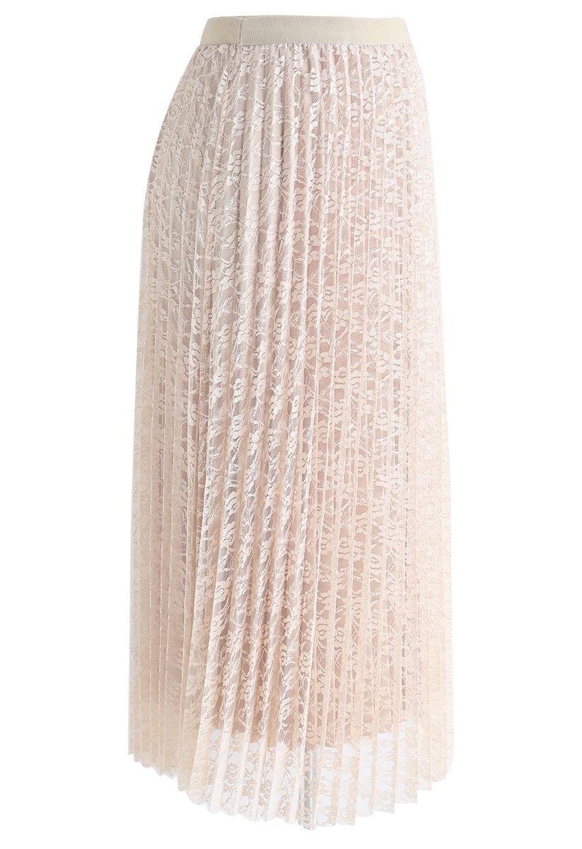 Reversible Floral Mesh Pleated Midi Skirt in Cream