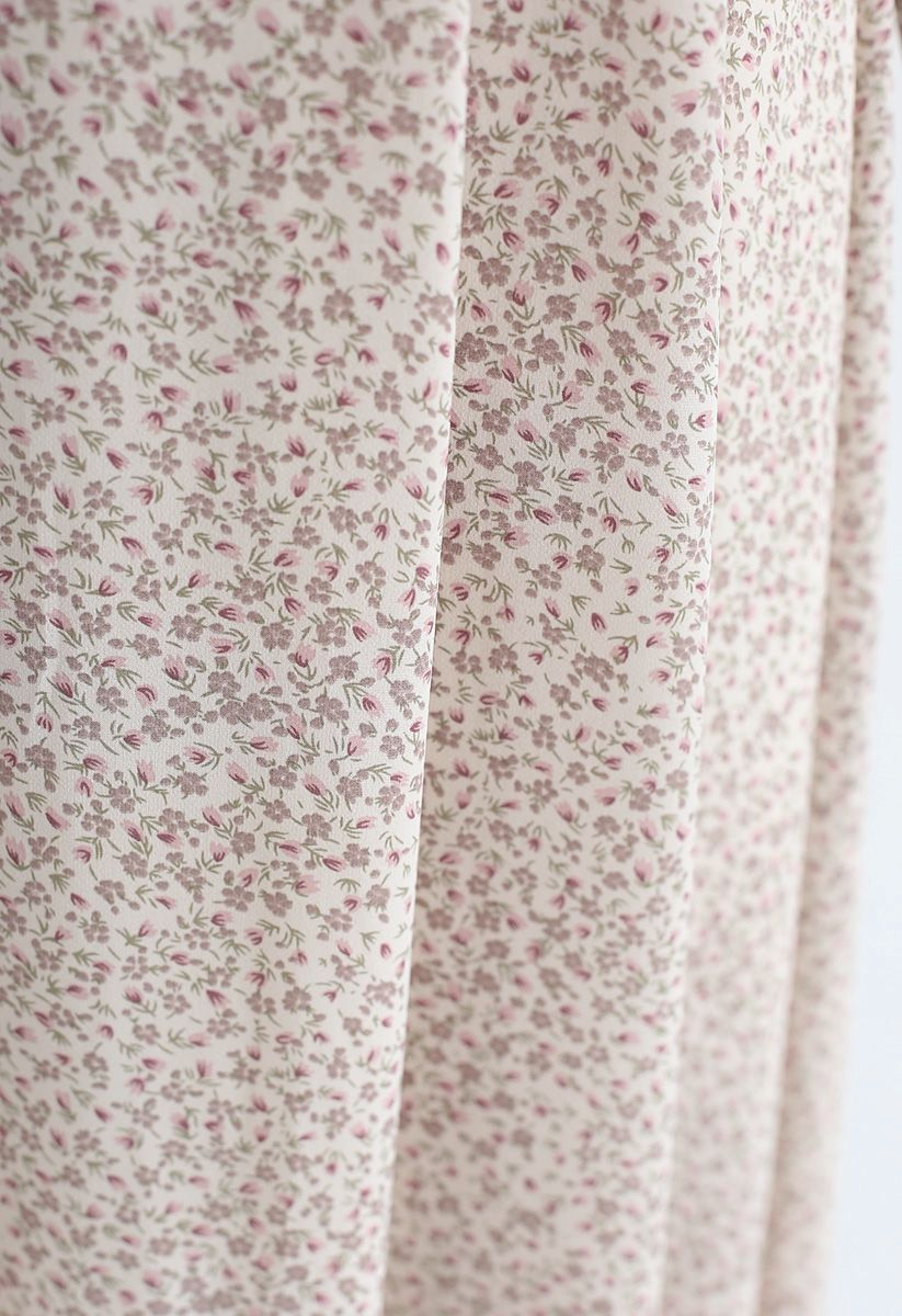 Floret V-Neck Chiffon Dress in Ivory