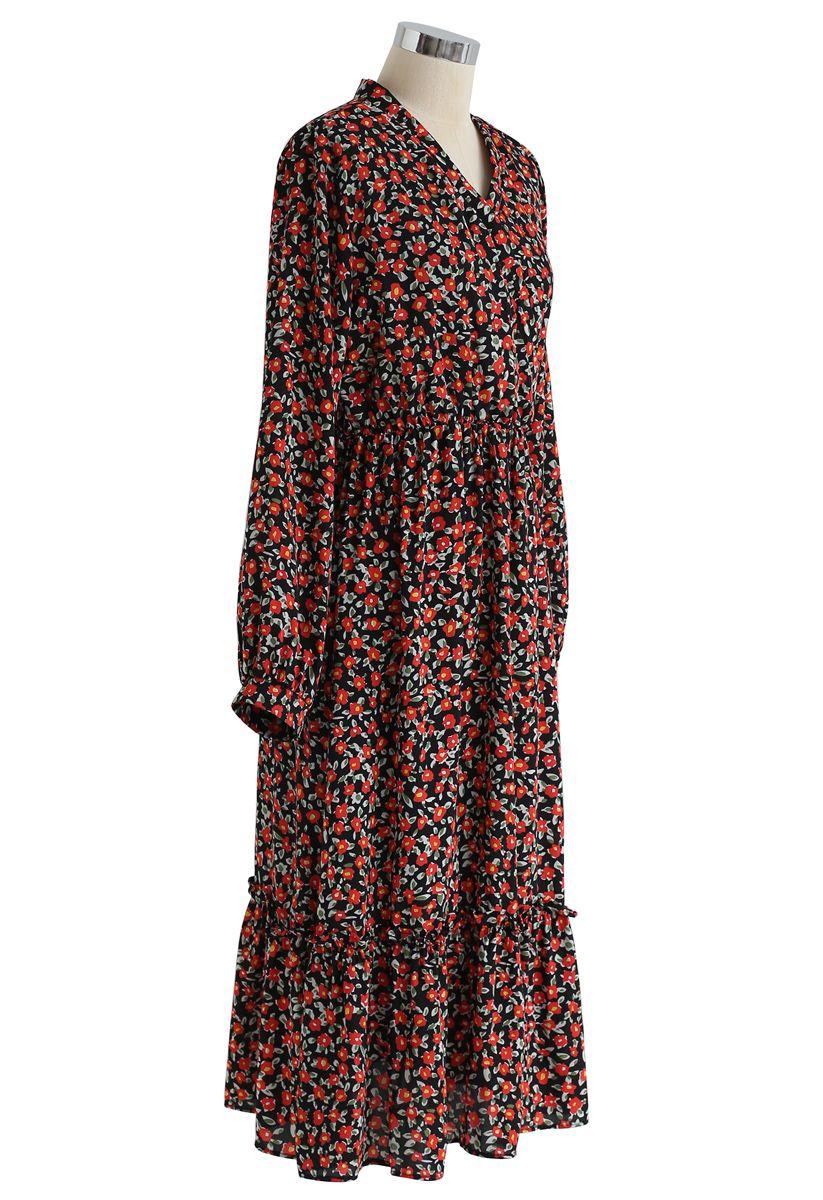 Red Posy Frill Hem Wrap Dress