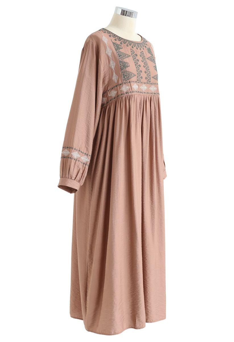 Embroidered Sleeves Boho Midi Dress in Tan