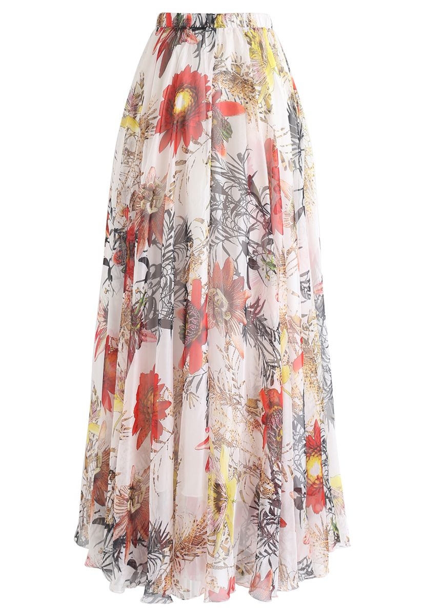 Red Floral Blossom Maxi Skirt