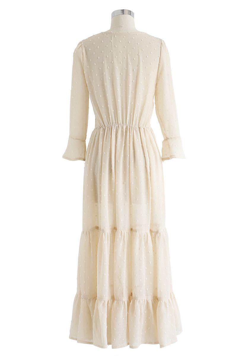 Flock Dots Wrapped Ruffle Maxi Dress in Cream