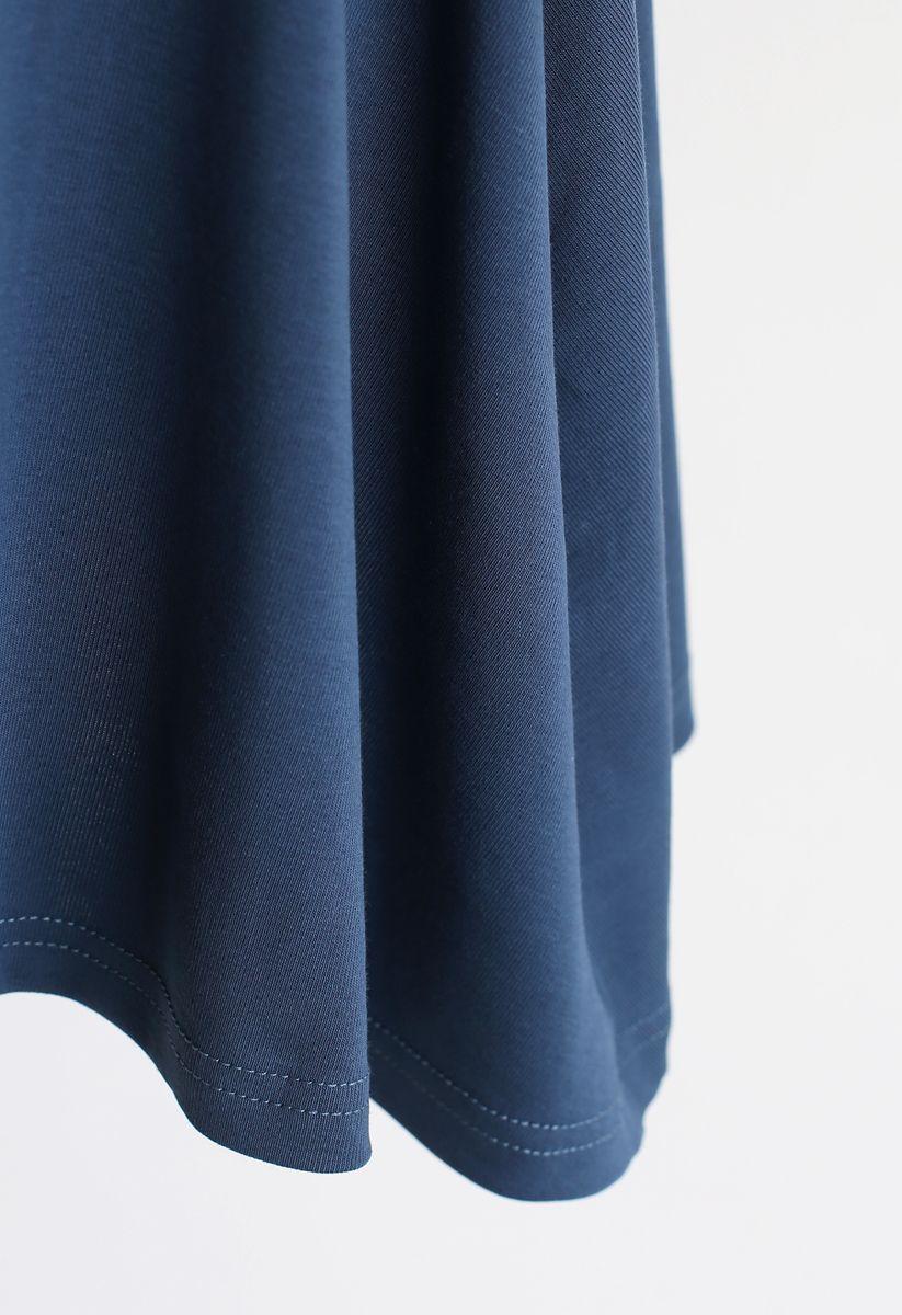 Wrapped Skater Dress in Dusty Blue