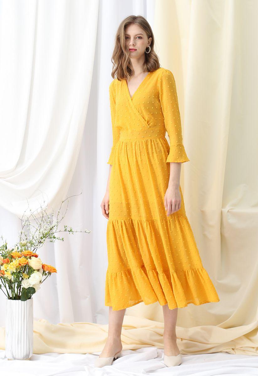 Flock Dots Wrapped Ruffle Maxi Dress in Mustard