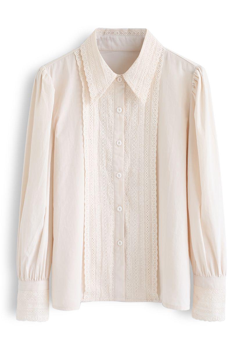 Button Down Crochet Trim Shirt in Cream