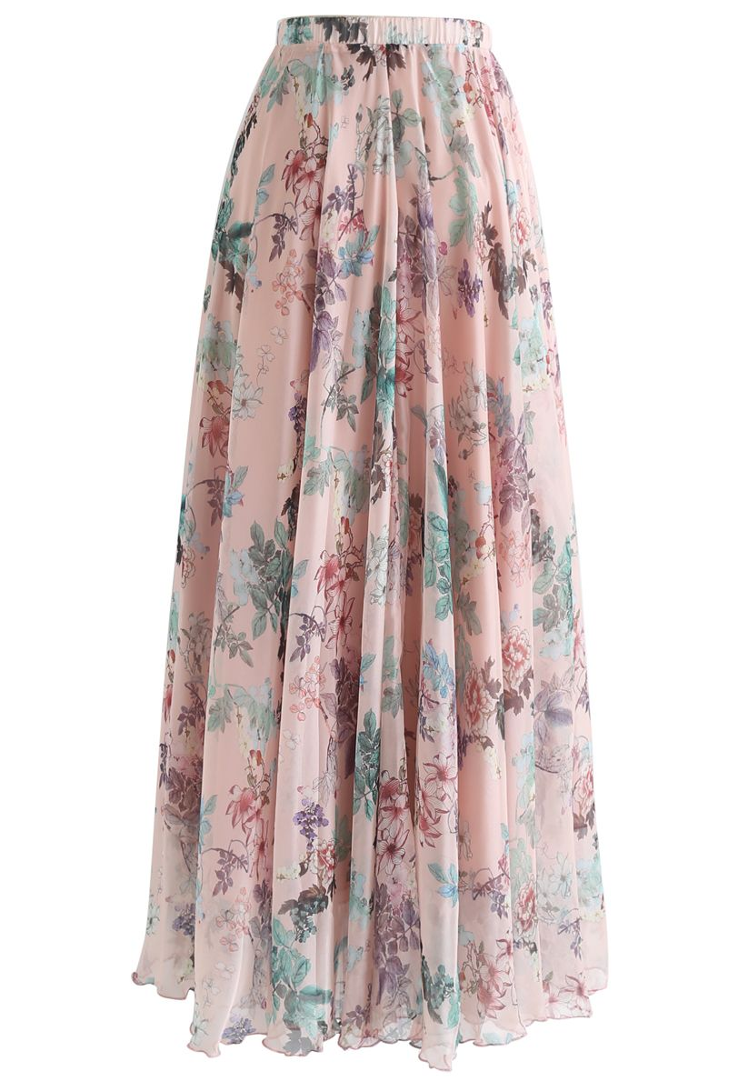 Pinky Blossom Watercolor Maxi Skirt