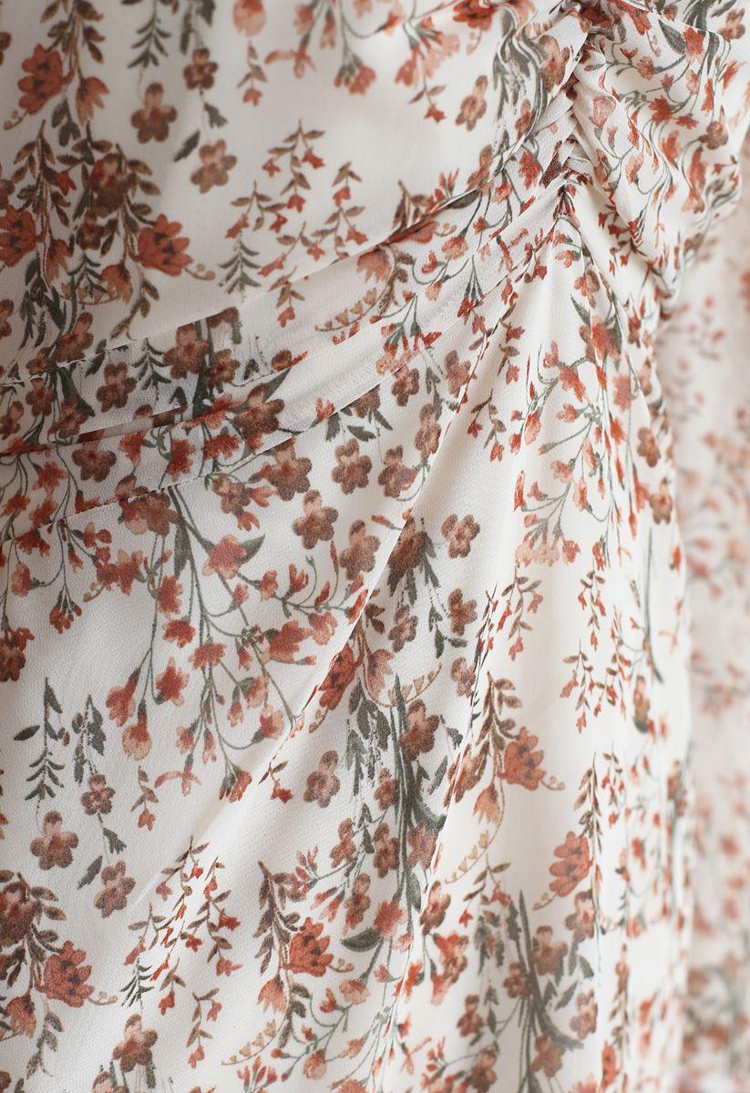All-Over Posy Printed Chiffon Dress in Cream