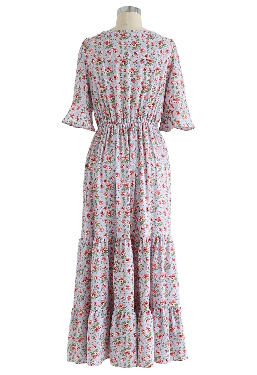 Floral Flare Sleeves Wrapped Maxi Dress in Dusty Blue