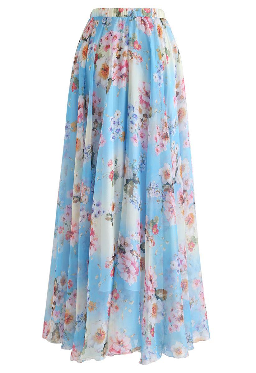 Peach Blossom Watercolor Maxi Skirt