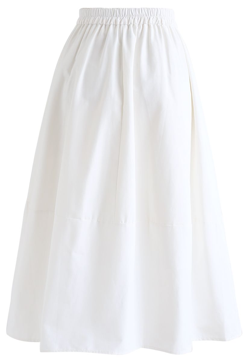 Simple A-Line Midi Skirt in White