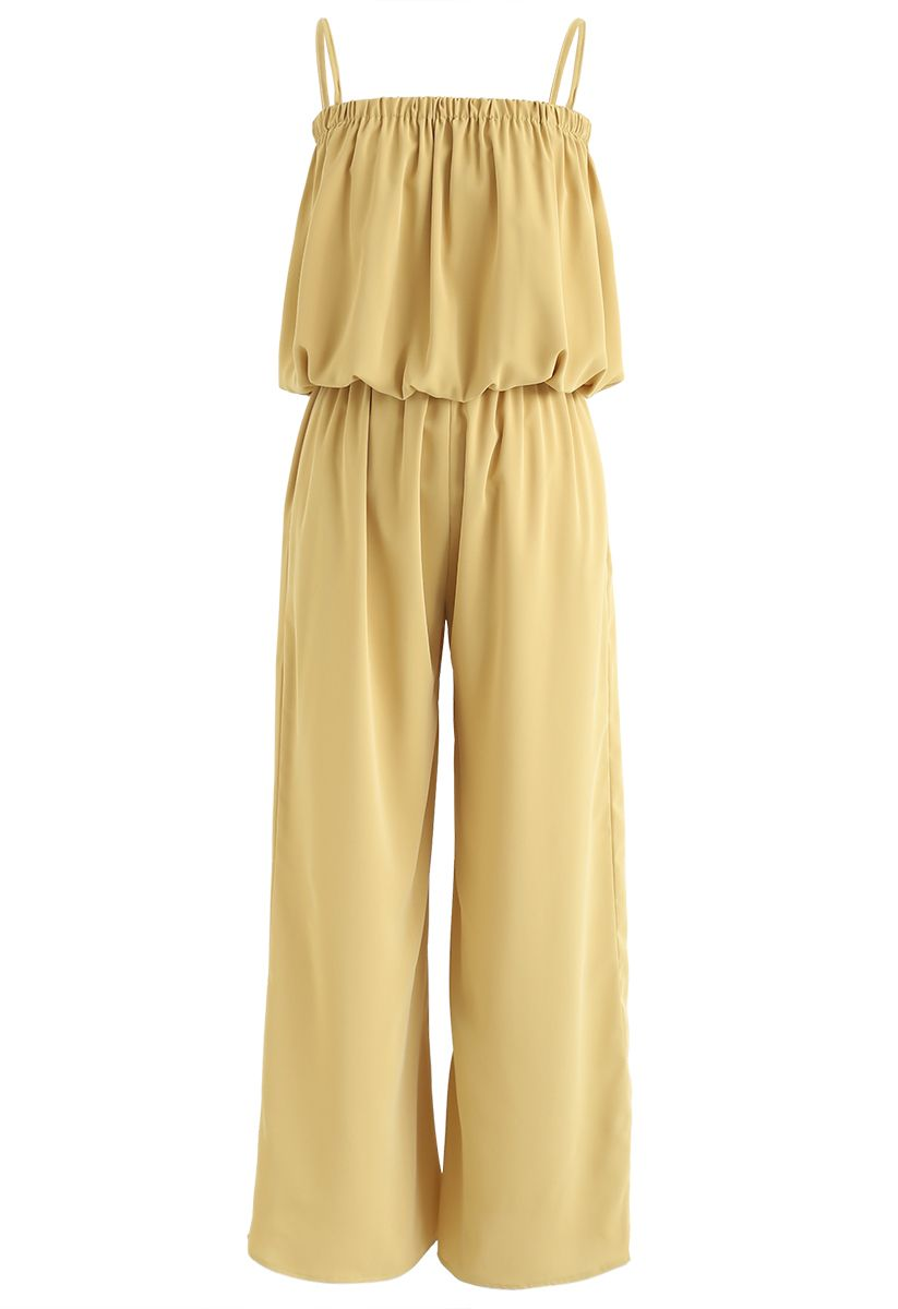 Tube Crop Cami Top and Wide Leg Pants Set in Mustard