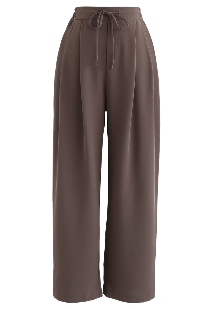 Drawstring High-Waisted Wide-Leg Pants in Brown