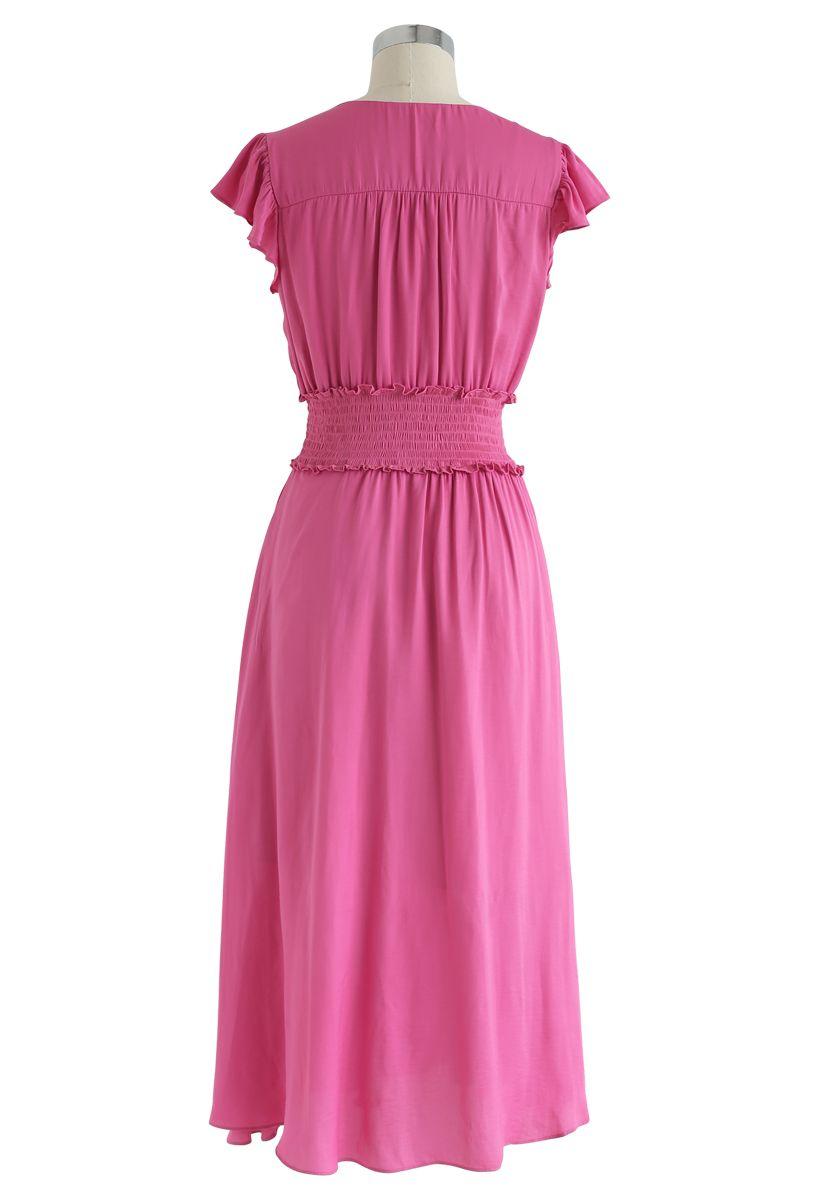 Shirred Button Down Ruffle Dress in Hot Pink