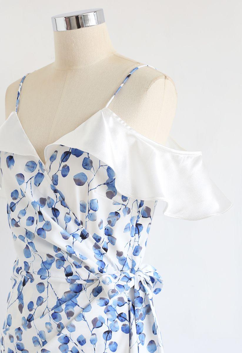 Blue Leaf Print Ruffle Wrapped Cami Dress
