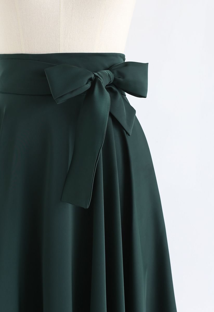 Flare Hem Bowknot Waist Midi Skirt in Emerald