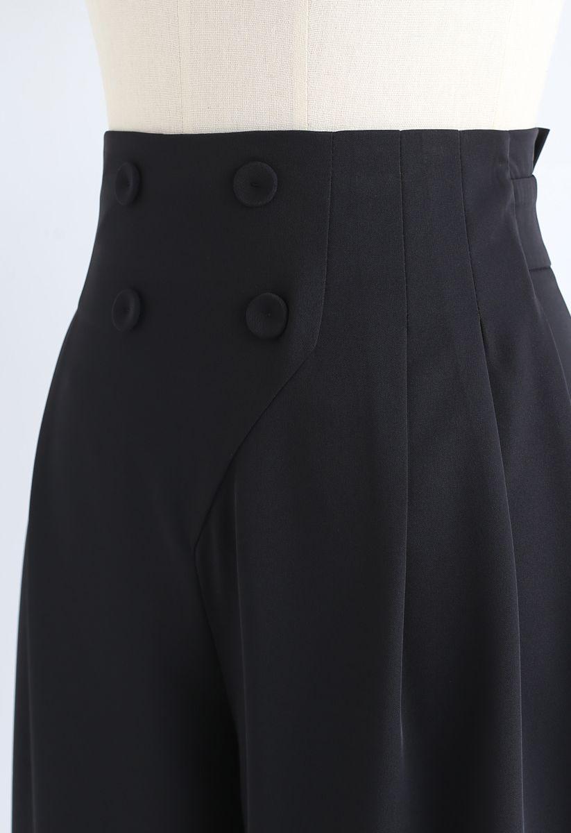 Button Embellished Wide-Leg Pants in Black