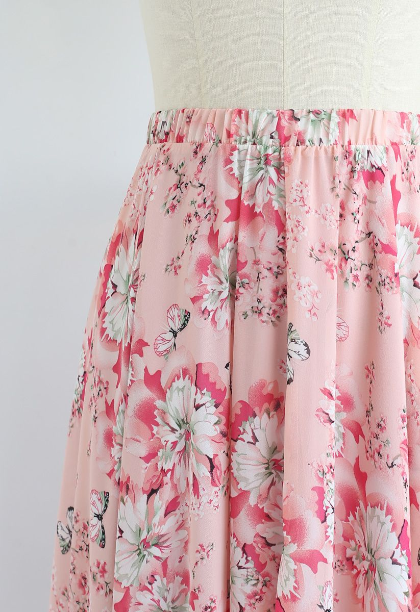 Butterfly and Floral Print Chiffon Maxi Skirt in Pink