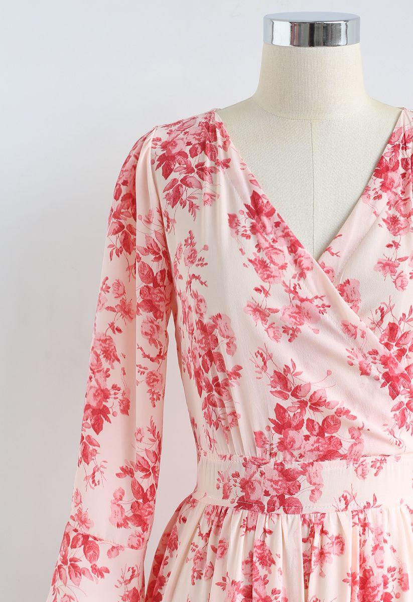 Flounced Cuffs Floral Print Chiffon Wrap Dress