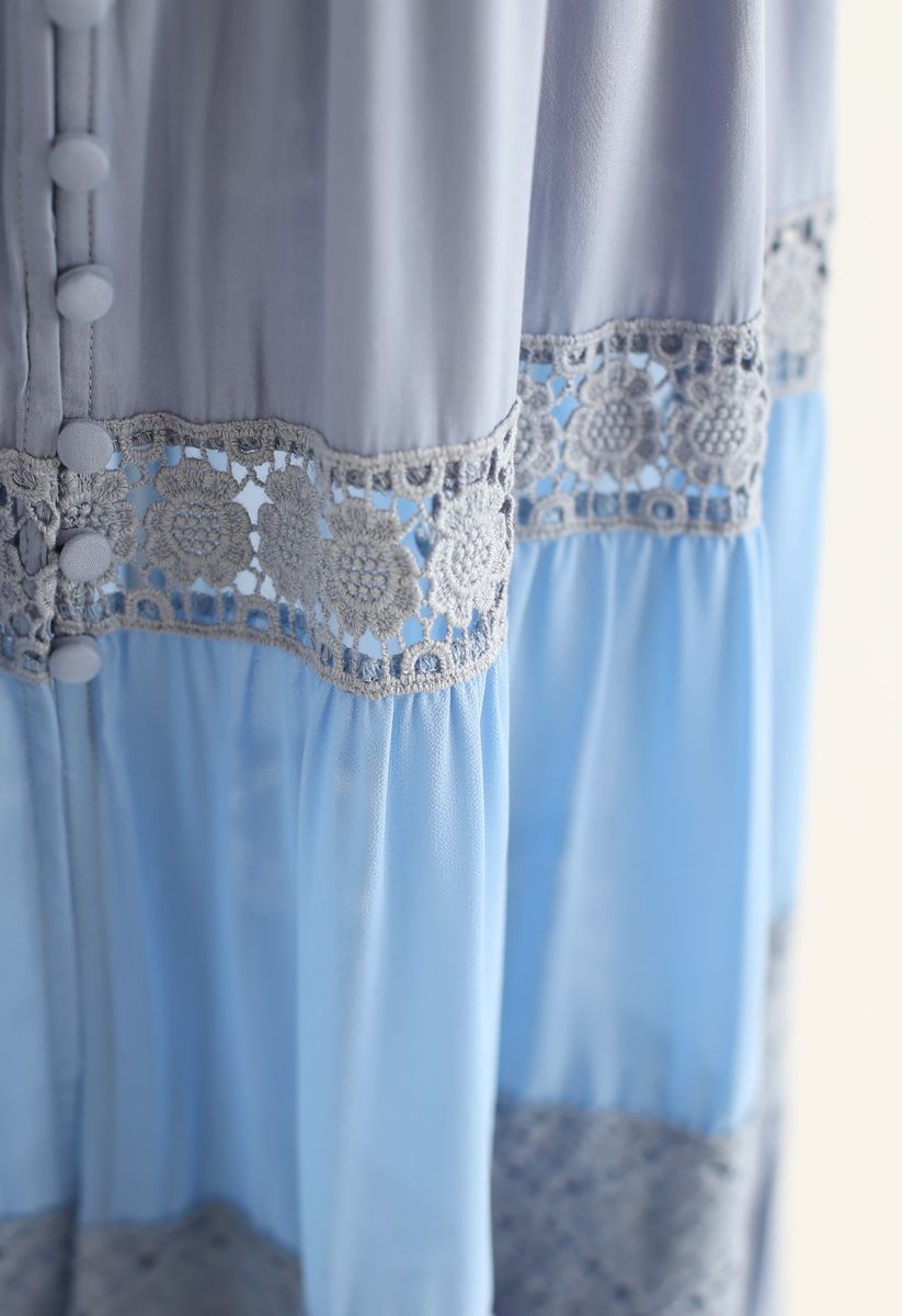 Crochet Trims Panelled Button Down Sleeveless Maxi Dress in Dusty Blue