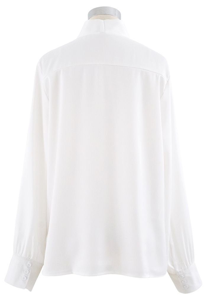 Bowknot Tie Neck Button Down Shirt in White