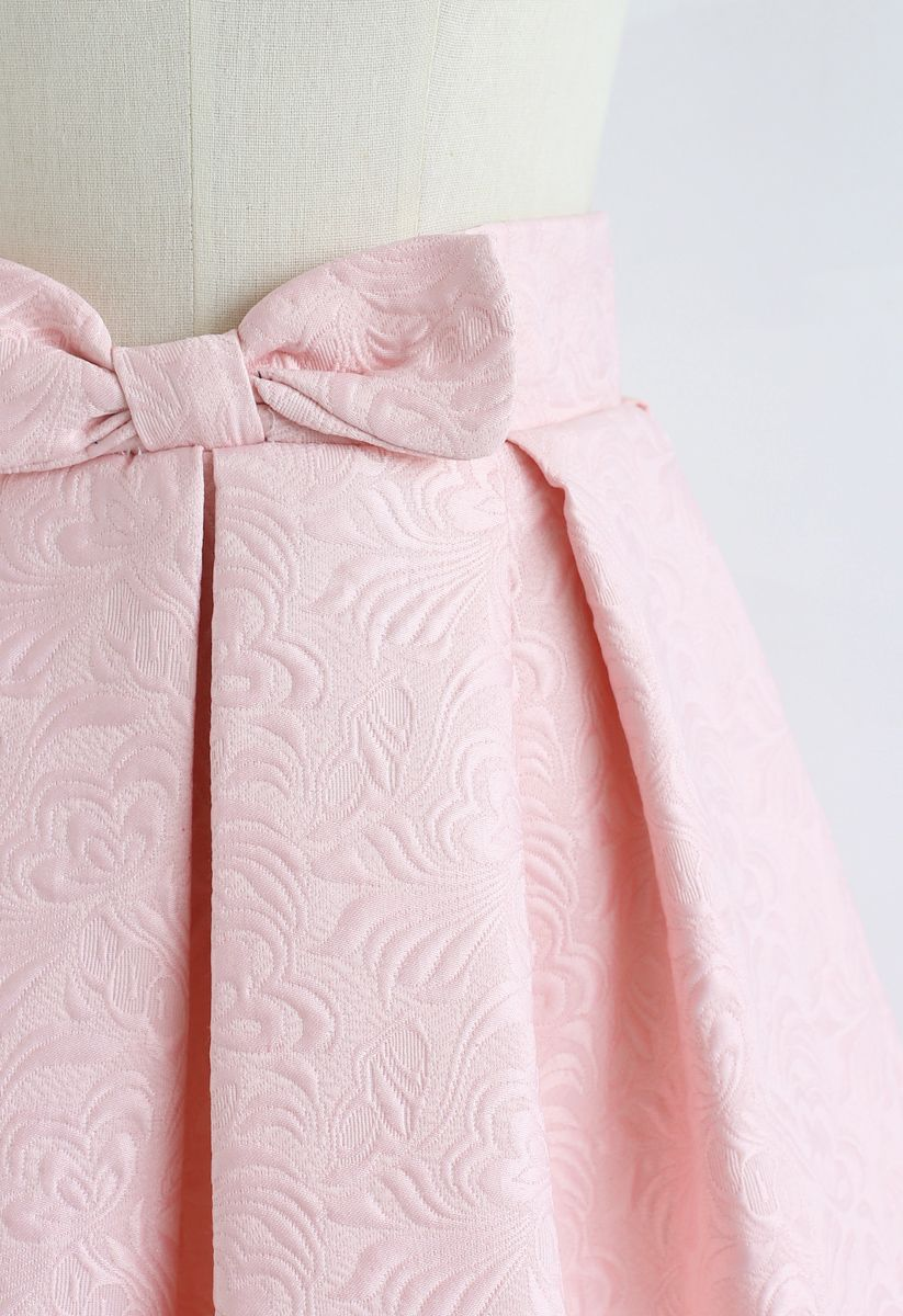 Sweet Your Heart Jacquard Skirt in Pink