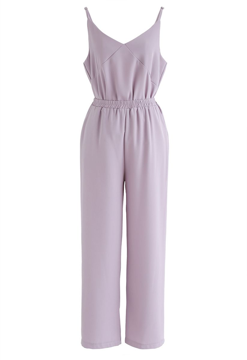 Adjustable Cami Tank Top and Wide-Leg Crop Pants Set in Lilac
