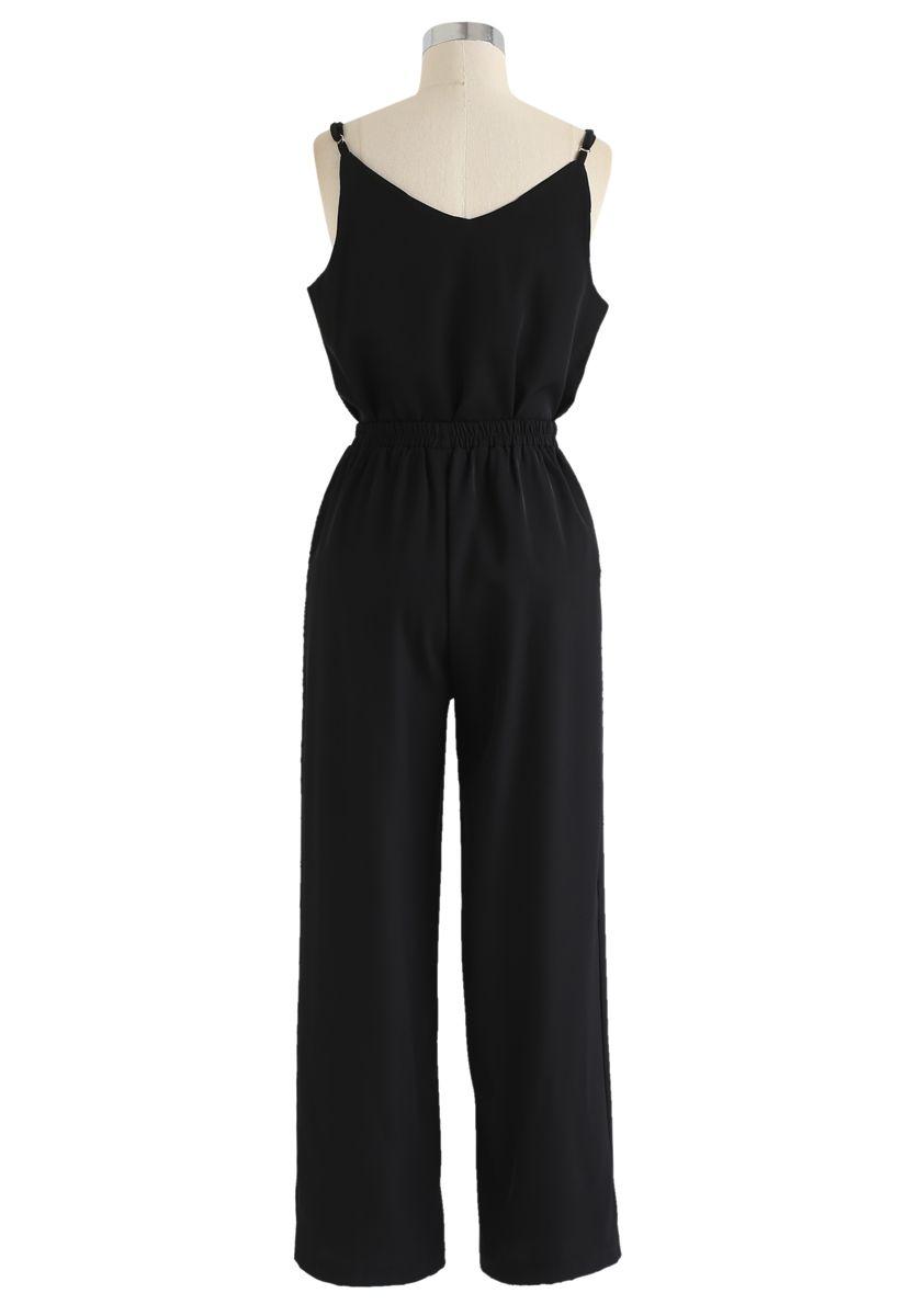 Adjustable Cami Tank Top and Wide-Leg Crop Pants Set in Black