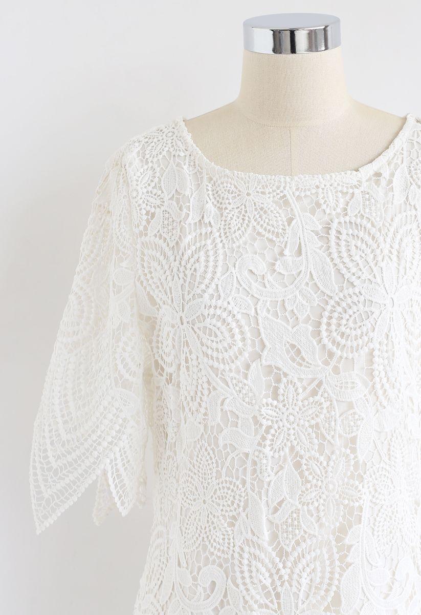 Flower Crochet Shift Midi Dress