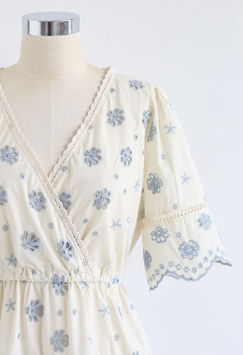 Floral Broderie Anglaise Wrap Peplum Top in Blue
