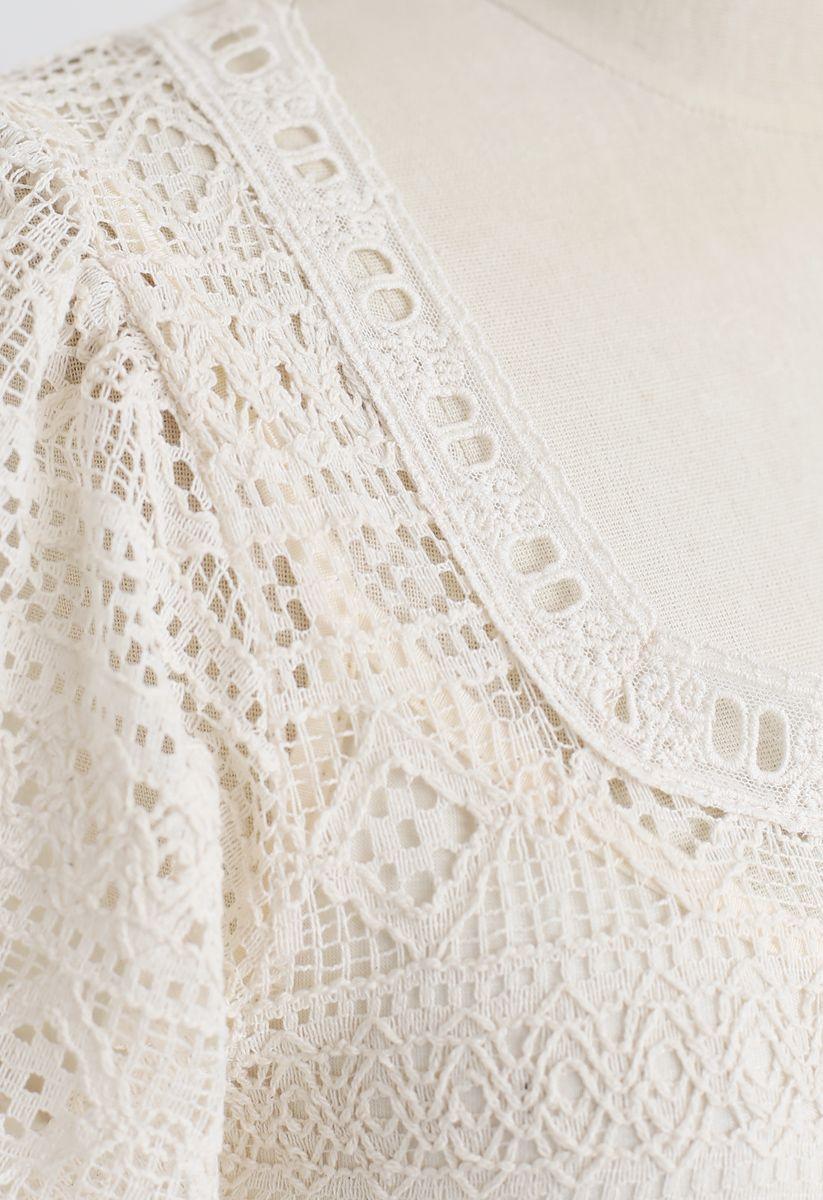Square Neck Full Crochet Dress in Cream