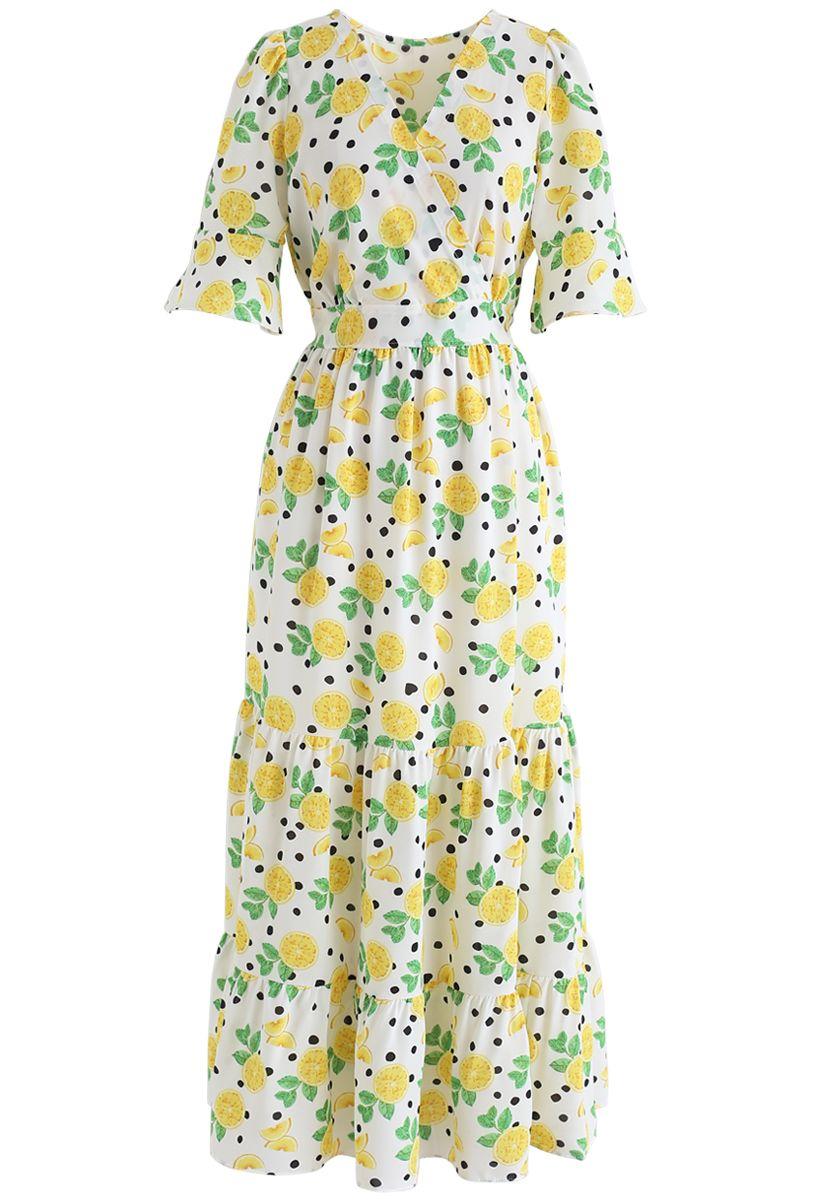Lemon Print Frilling Wrapped Dress