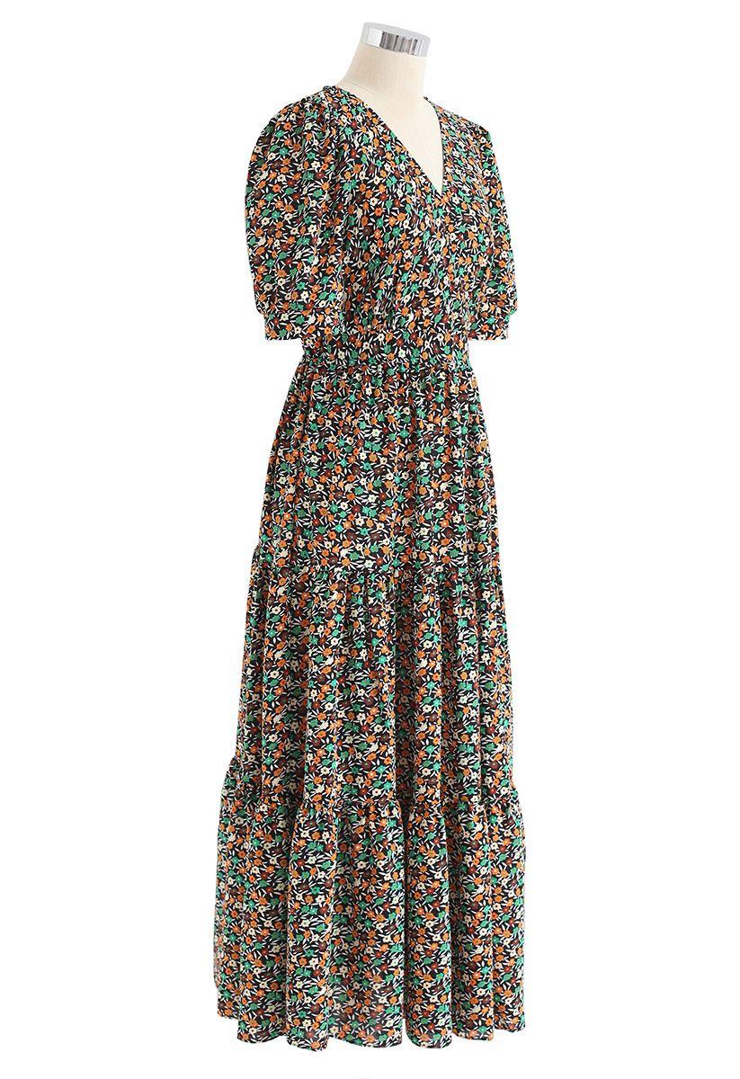Tender Floret Wrapped Maxi Dress in Black