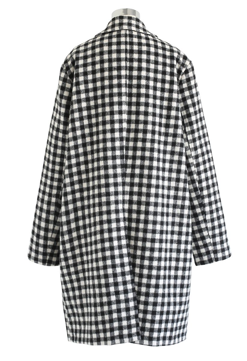Button Down Gingham Wool-Blended Longline Coat