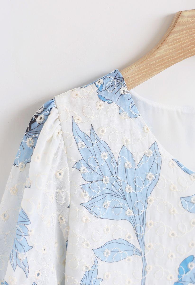 Blue Floral Printed Eyelet Embroidered V-Neck Top