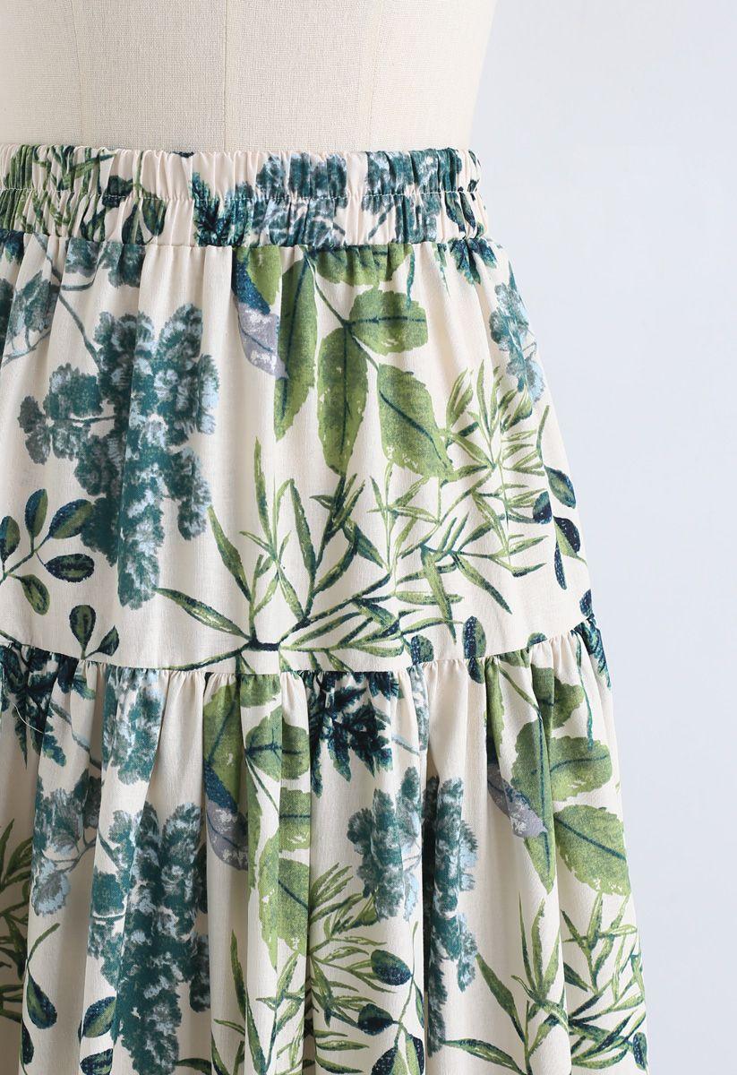 Natural Leaves Printed Linen-Blend Maxi Skirt