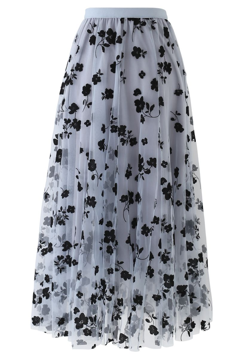 3D Posy Double-Layered Mesh Midi Skirt in Dusty Blue