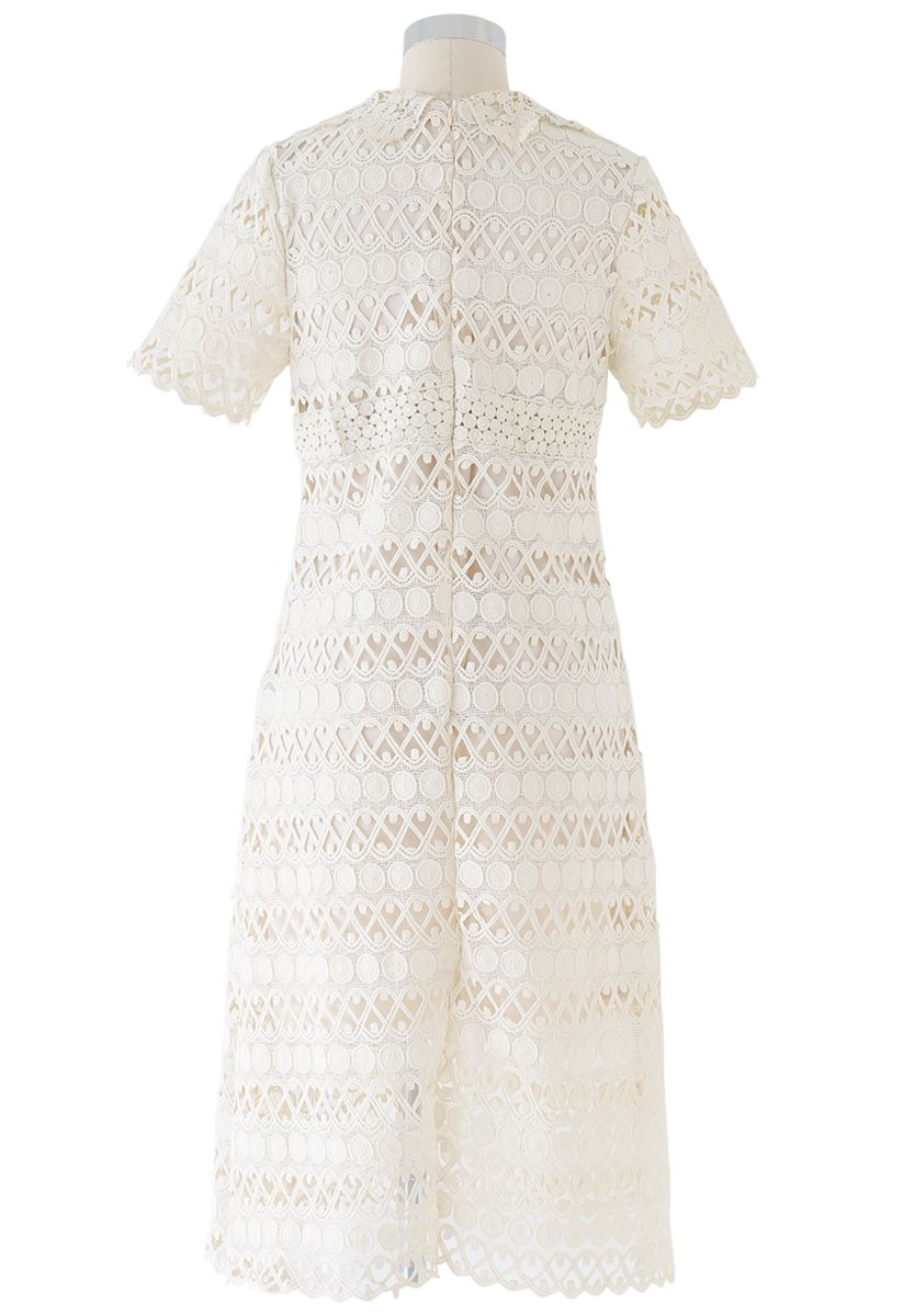 Full Circle and Wavy Lines Crochet Dress in Cream