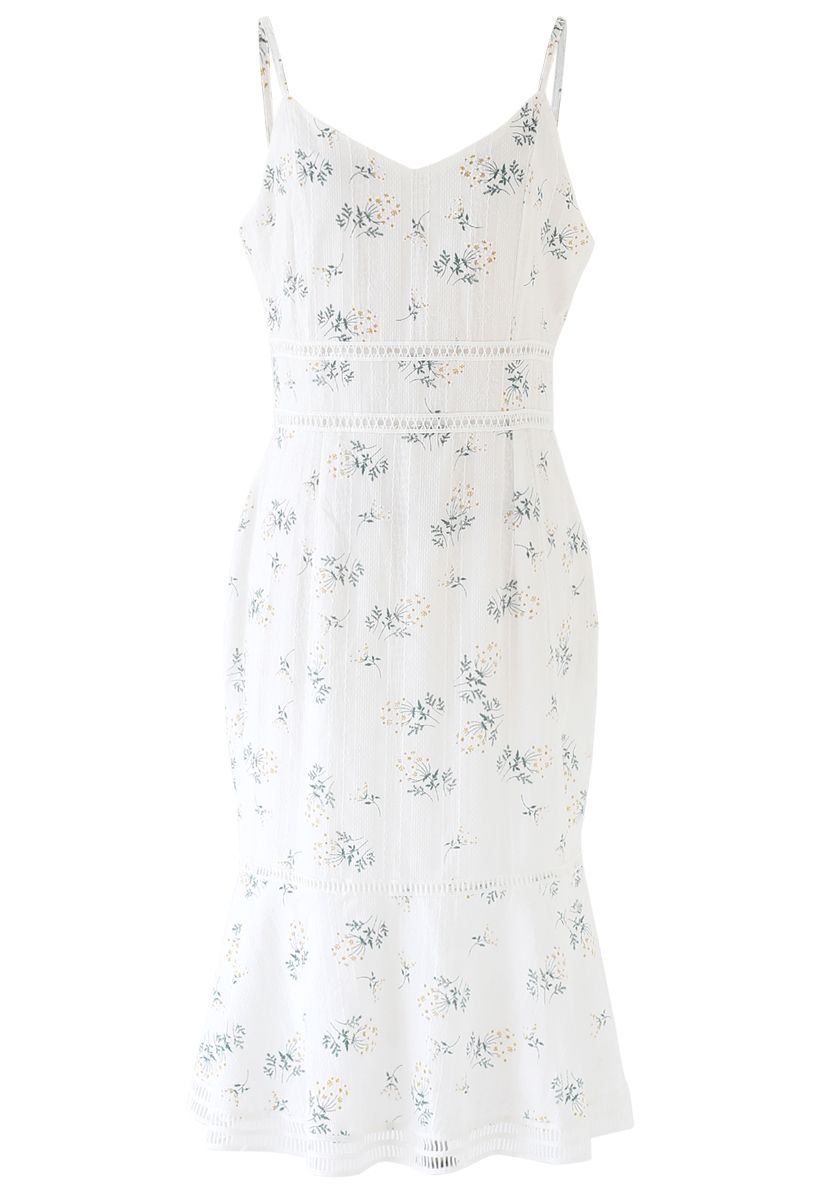 Bouquet Printed Stripe Embossed Bodycon Cami Dress in White