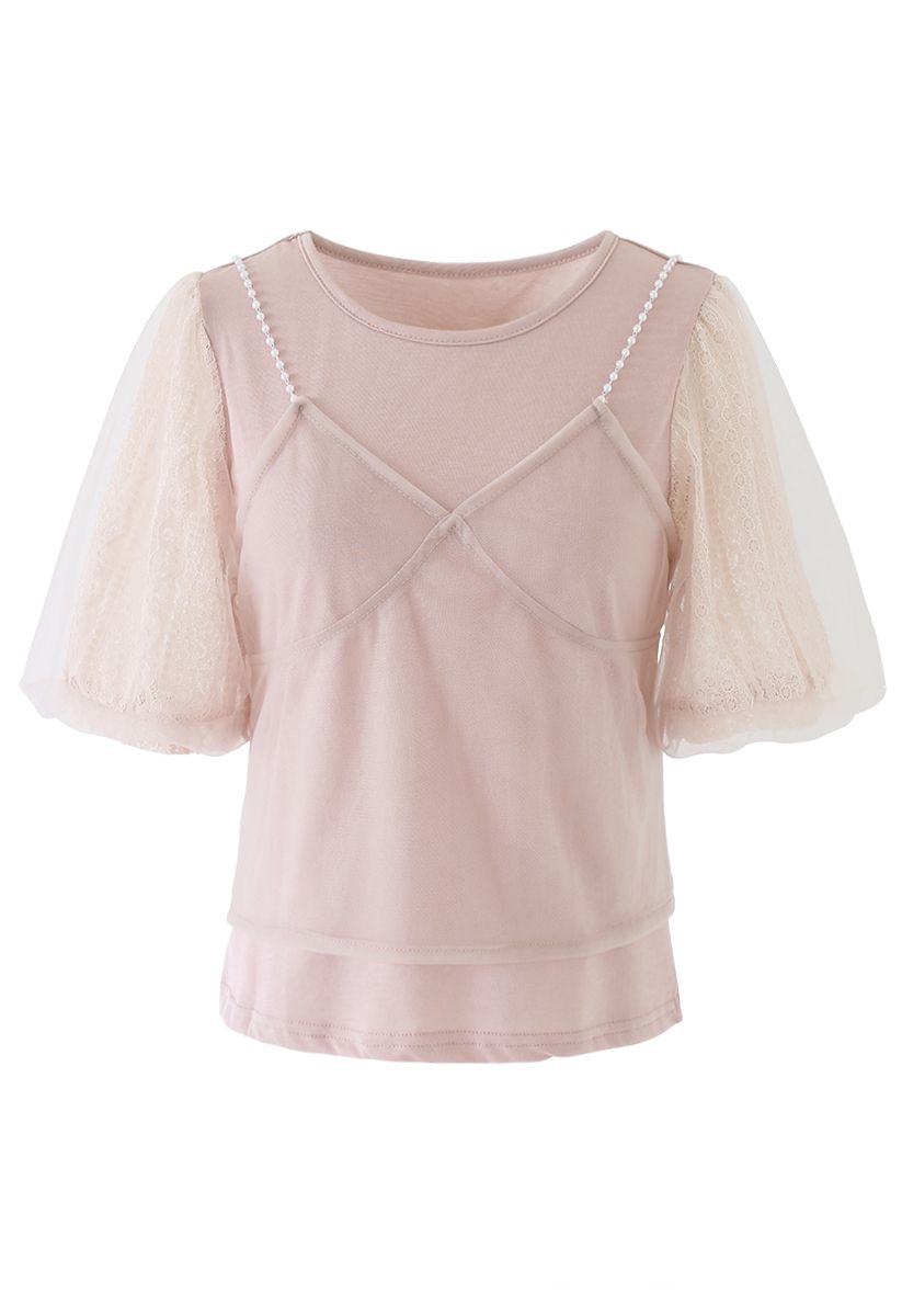 Lacy Bubble Sleeves Top and Pearl Trim Cami Top Set in Pink