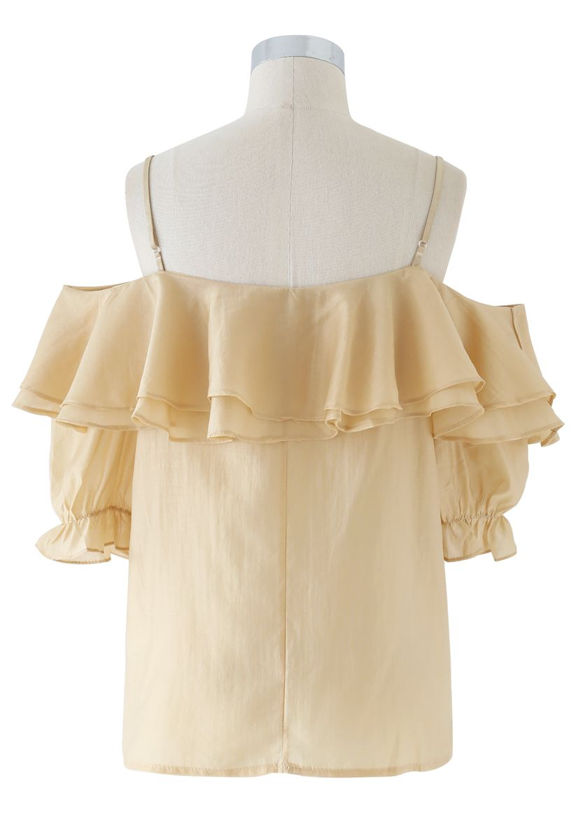 Tiered Ruffle Pearl Trim Cold-Shoulder Top in Mustard