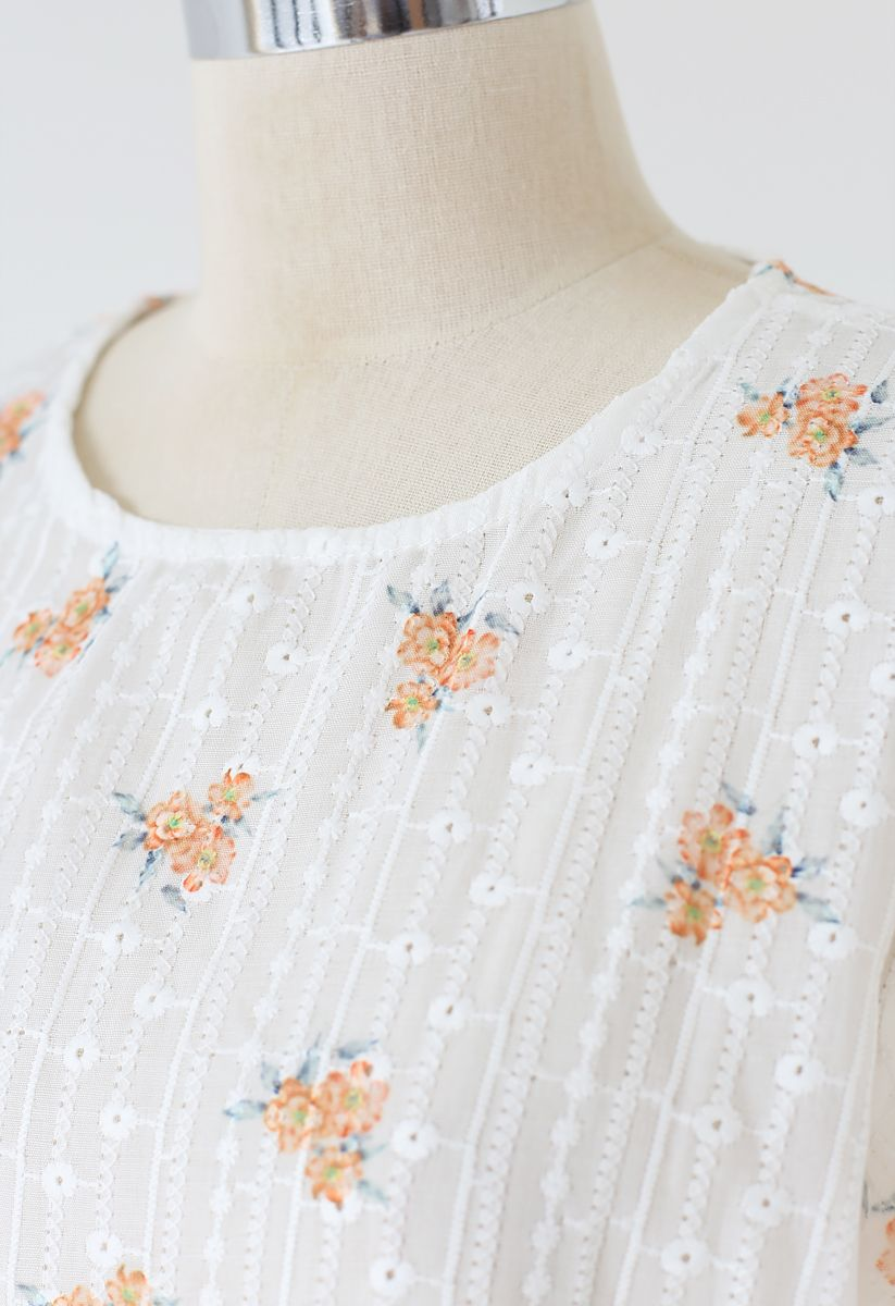 Orange Posy Print Embroidery Eyelet Top