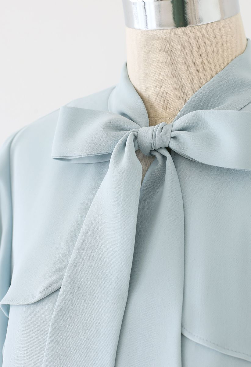 Bow Tie Flare Sleeves V-Neck Top in Blue