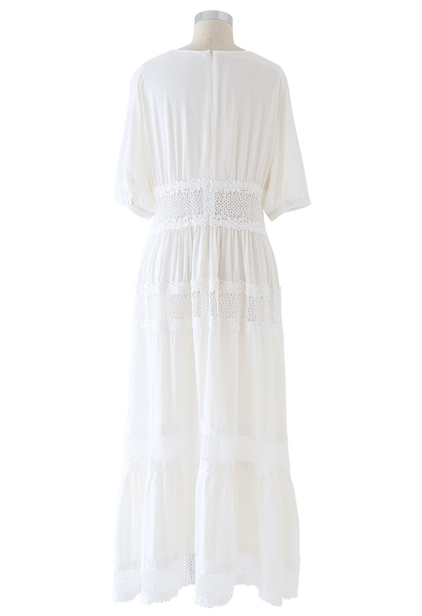 Lace Inserted White Maxi Dress